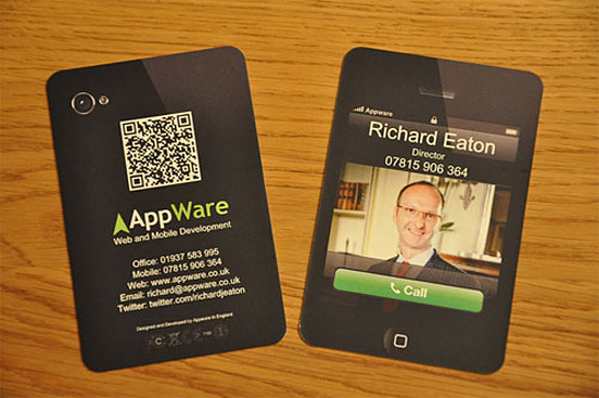 Fantastic business cards showcase creative examples appware is a real company and what i love about their business card is the fact that it brings a known dimension an ipad technology to paper reality reheart Images