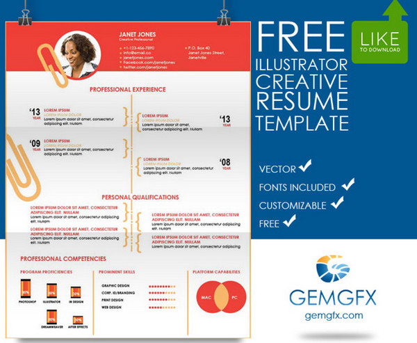 Cv templates adobe illustrator free resume examples cv for Free adobe illustrator templates