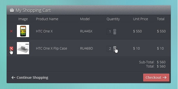 PSD Shopping cart interface