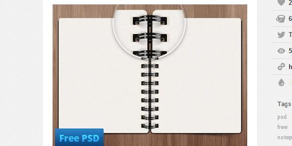 Notepad design free PSD