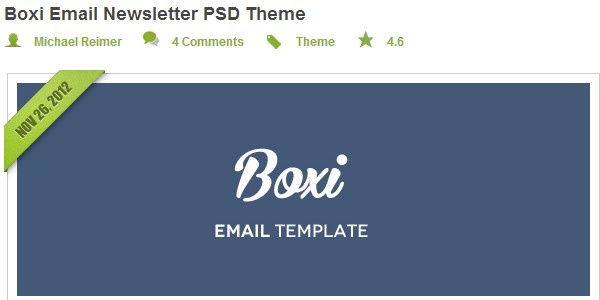 Boxi email newsletter PSD theme