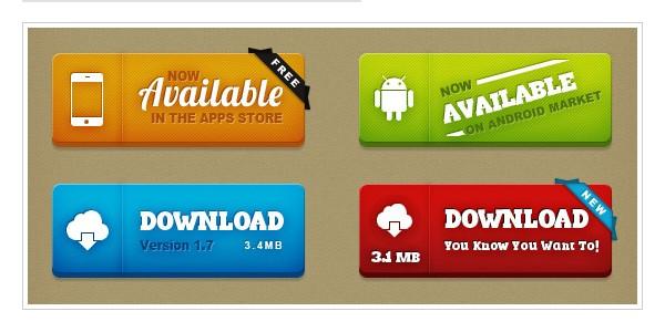 Super buttons: Free PSD buttons