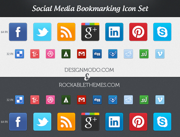 Social Media Icon Set (CSS3 & PNG)