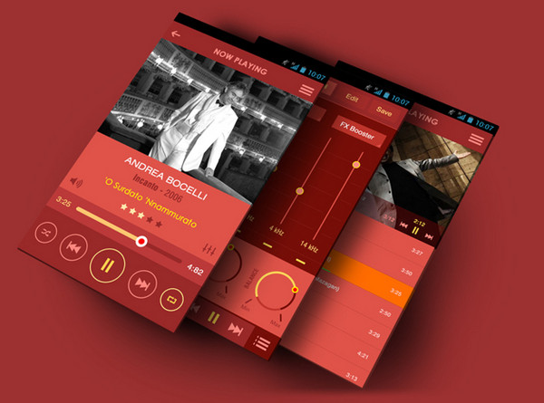 Flat Mobile App Music Player by Yasser Achachi