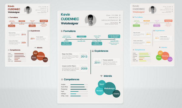 Resume by Kevin Cdnc has a lovely infographic vibe. The multicolored ...