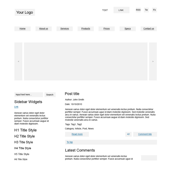 Wireframe PSD Template
