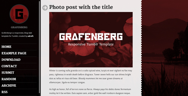 Grafenberg Is A Very Elegant Tumblr Theme That Will Undoubtedly Impress Any Visitor The Entire Layout Visually Ealing But Strongest Point Of