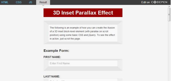 3D Inset Parallax Effect