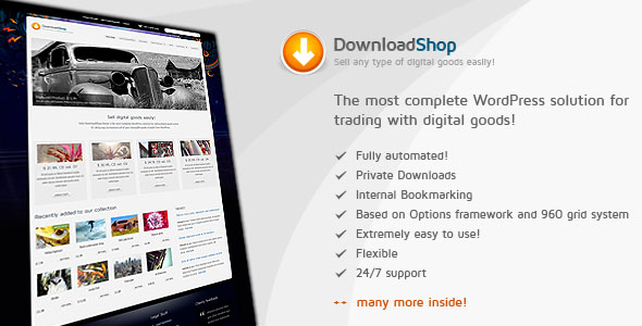 DownloadShop - Sell digital goods easily, WP theme