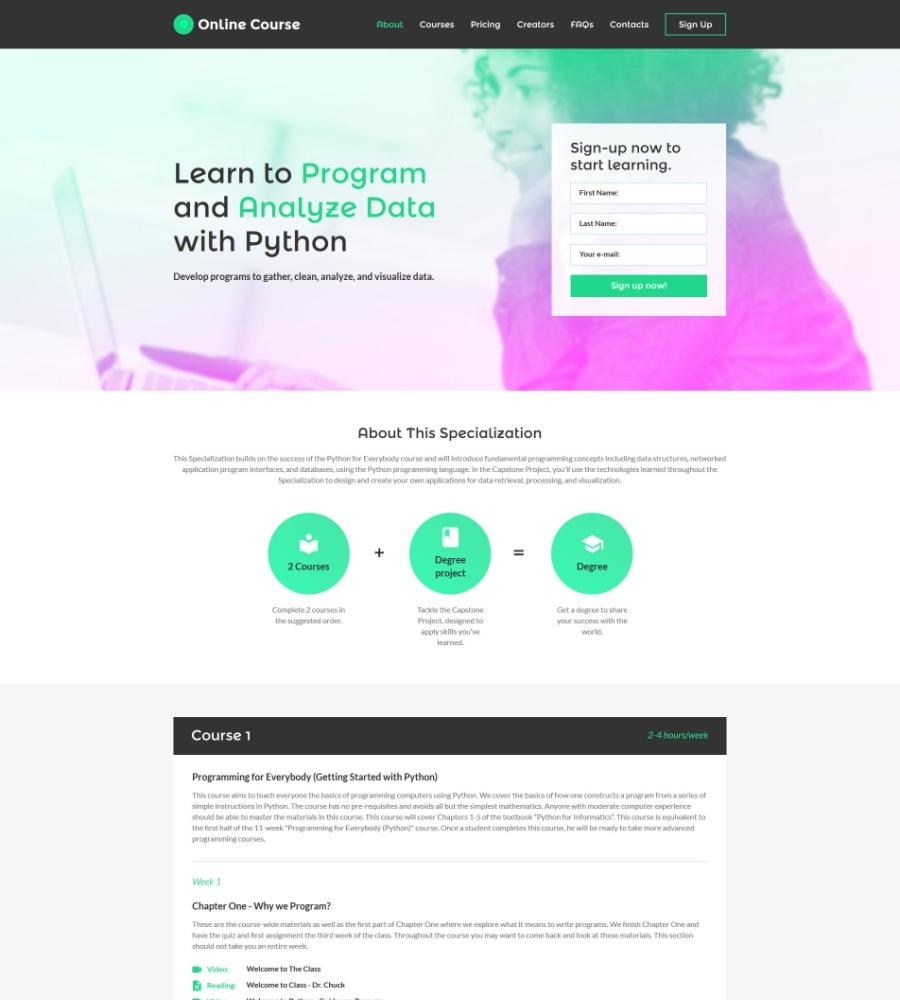 Online Courses Web Page Design